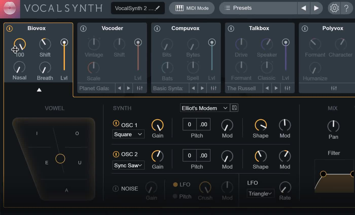 VocalSynth 2 versatile voice-modeled effect plugin by iZotope